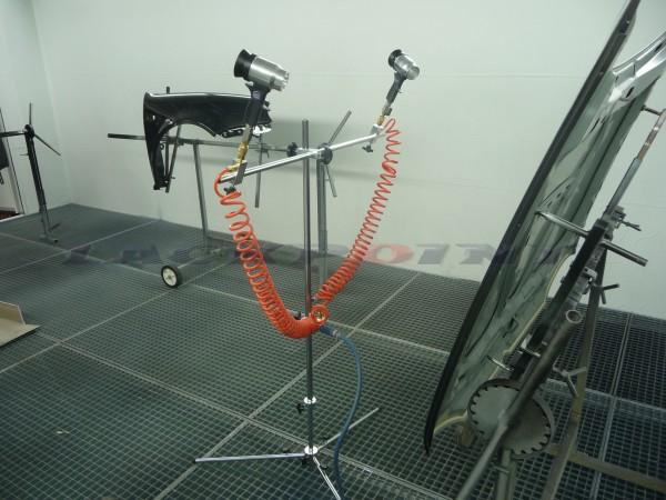 Teleskop-Stativ mit 2 Lacktrockner für Wasserbasisfarben mit 1/4 Zoll Anschluss