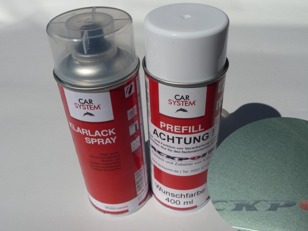 Spraydosen Set - Basis Autolack VW / Audi LY7L Achatgrau Metallic + Klarlack