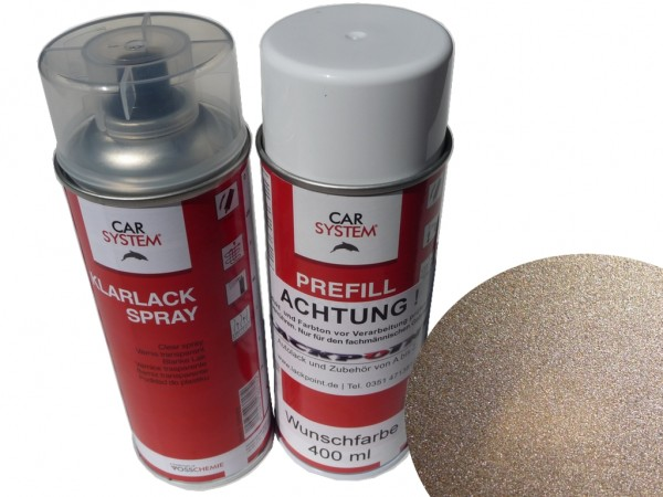 Spraydosen Set - Basis Autolack RAL 1035 Perlbeige Metallic + Klarlack